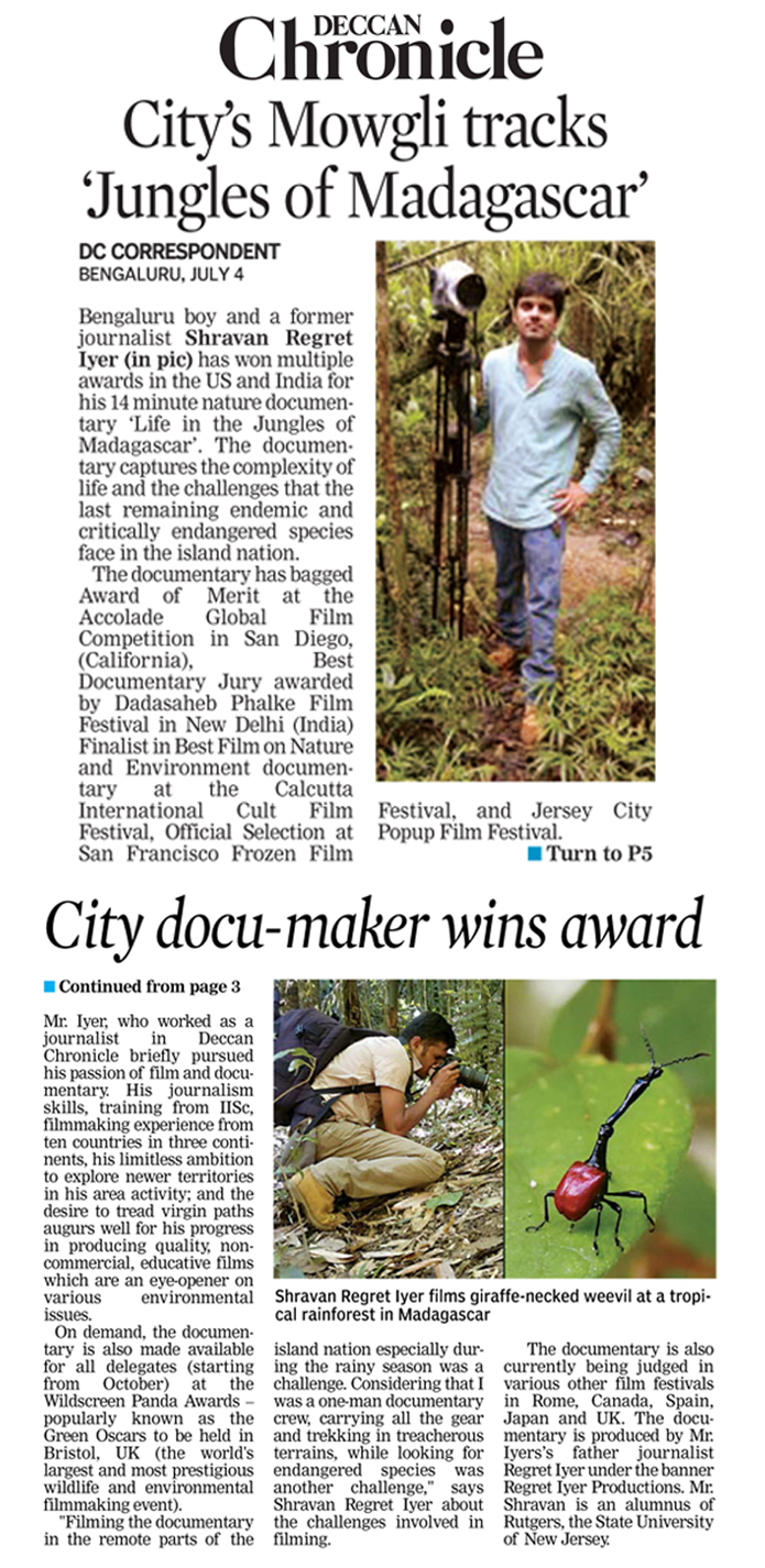 Deccan Chronicle Press Clipping_Madagascar